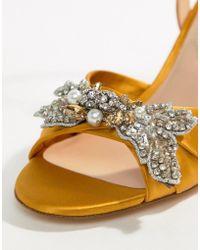 ALDO - Embellished Mustard Heeled Sandals - Lyst
