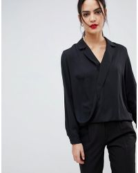 ASOS - Long Sleeve Wrap Top With Collar Detail - Lyst