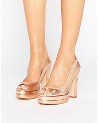 Terry De Havilland - Luna Blush Leather Peeptoe Platform Heeled Shoes - Lyst