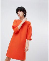 Warehouse - Sleeve Tuck Crepe Dress - Lyst