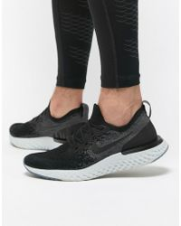 Nike - Epic React Flyknit Trainers In Black Aq0067-001 - Lyst