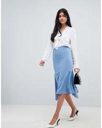 ASOS - Hanky Hem Midi Skirt In Scuba Crepe - Lyst