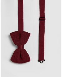 ASOS - Knitted Bow Tie In Burgundy Marl - Lyst