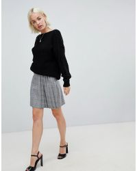 Glamorous - Mini Skirt With Pleated Side In Prince Of Wales Check - Lyst