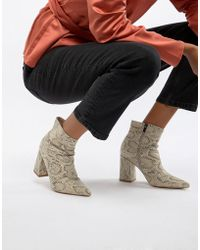 Public Desire - Empire Snakeskin Block Heeled Ankle Boots - Lyst