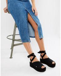 River Island - Flatform Sandals With Tie Detail In Black - Lyst