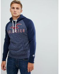 Hollister Tech Logo Hoodie In Navy