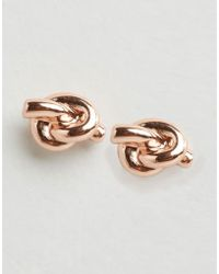 Abercrombie & Fitch - Abercrombie And Fitch Signature Rose Gold Stud Earrings - Rose Gold - Lyst