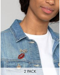 ASOS - Pack Of 2 Glitter Lips Badge Pack - Lyst