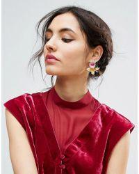 ASOS - Enamel Lily Stud Earrings - Lyst