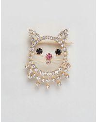 ASOS - Crystal Kitty Cat Badge - Lyst