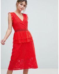 Liquorish - Lace Midi Dress - Lyst