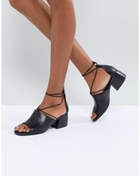 Vagabond - Saide Black Lace Wrap Casual Heeled Sandals - Lyst