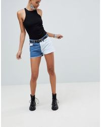 PrettyLittleThing - Colour Block Denim Shorts - Lyst
