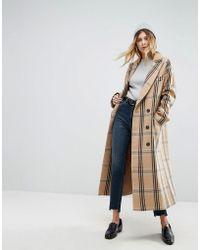 ASOS - Wool Coat In Check - Lyst