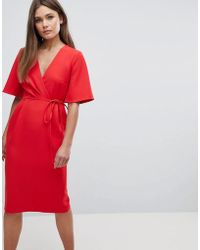 ASOS - Asos Midi Wrap Dress With Tie Detail - Lyst