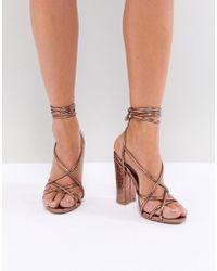 Missguided - Croc Multi Strap Block Heel Sandal - Lyst