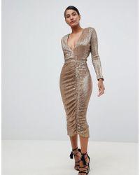 Lavish Alice - Sequin Embellished Midi Dress In Gold - Lyst