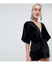 e2b1664f35e Boohoo - Exclusive Petite Kimono Sleeve Velvet Playsuit In Black - Lyst