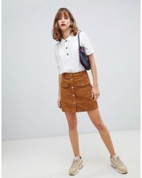 Stradivarius - Cord Mini Skirt In Brown - Lyst