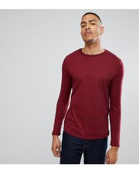 ASOS - Tall Long Sleeve T-shirt In Heavy Twisted Jersey With Roll Sleeve In Oxblood - Lyst