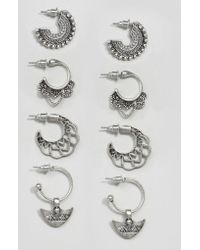 ASOS - Pack Of 4 Festival Hoop Earrings - Lyst
