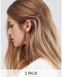 Glamorous - Minimal Zig Zag Hair Clips - Lyst