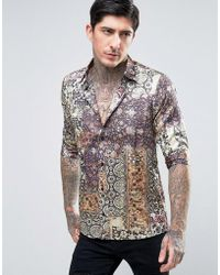 Rogues Of London - Short Sleeve Skinny Satin Shirt In Print - Lyst