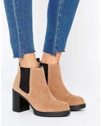 Pull&Bear - Elastic Chunky Heeled Ankle Boot - Beige - Lyst