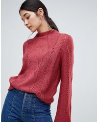 Vila - Open Knit Cable Knit High Neck Sweater - Lyst