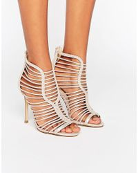 Miss Selfridge | Metallic Lattice Heeled Sandals | Lyst
