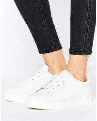 Monki - Leather Look Lace Up Trainers - Lyst