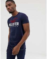 Hollister Chest Embroidered Seagull Logo T-shirt In Navy