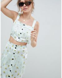 f9b2de44ba932 ASOS - Satin Crop Top With Fringe Detail In Ditsy Print Co-ord - Lyst
