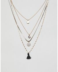 ALDO - Gold Multi Layer Long Necklace With Charms And Tassel - Lyst