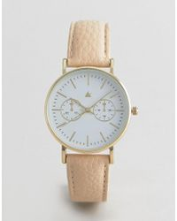 ASOS - Watch In Textured Faux Leather In Mink - Lyst