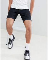 ASOS - Denim Shorts In Slim Black Contrast Stitch - Lyst
