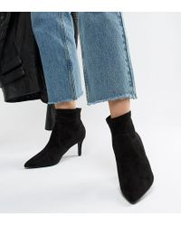 New Look - Wide Fit Suedette Pointed Heeled Sock Boot - Lyst
