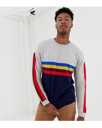 ASOS - Tall Jumper With Rainbow Chest And Sleeve Stripes - Lyst