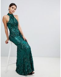 Bariano - Embellished Maxi Dress With High Neck In Emerald Green - Lyst