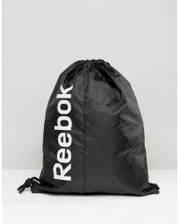 Reebok - Drawstring Backpack In Black Ab1270 - Lyst