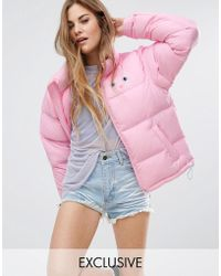 Lazy Oaf - Padded Jacket With Cat Print - Lyst
