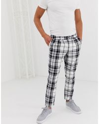 ASOS - Cigarette Trousers With Pleats In Monochrome Check - Lyst