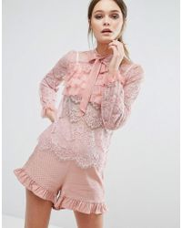 True Decadence - Lace All Over Ruffle Blouse - Lyst