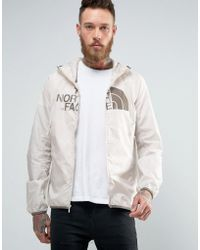 The North Face - Logo Hooded Jacket Drew Peak Windwall In Off White - Lyst