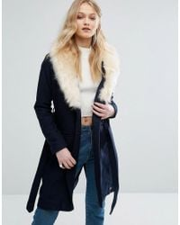 Bellfield - Belted Wool Blend Coat With Faux Fur Collar - Lyst