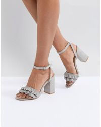 Truffle Collection - Ruffle Block Heel Sandal - Lyst