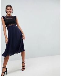 ASOS - Asos Lace Midi Dress With Lace Frill Sleeve - Lyst