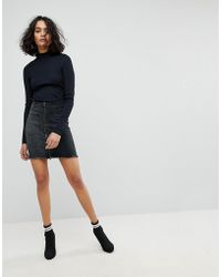 Liquor N Poker - Mini Denim Skirt With Asymmetric Pocket And Embroidery - Lyst