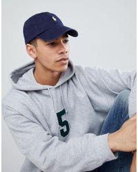 bfc5d2827ad Polo Ralph Lauren - Baseball Cap With White Player Logo In Washed Navy -  Lyst